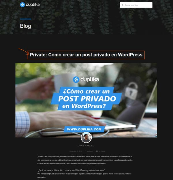 Cómo crear un post privado en WordPress 3